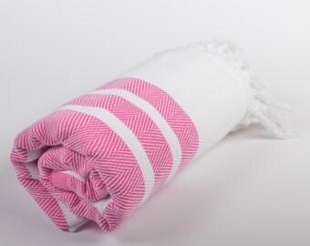 50% sale chevron beach towel, handwoven cotton peshtemal, turkish beach towel, yoga sport spa towel, chevron shawl, dark pink white