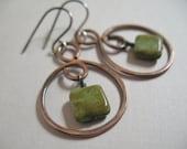 Copper Hoops, Czech Glass Beads, Handmade Copper Jewelry