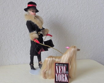Uneeda Barbie Clone Doll, Wendy wearing the Winter in New York outfit and accompanied by her Blonde Afghan Dog