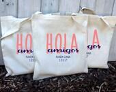10+ Hola Amigos Custom Canvas Destination Wedding Welcome Tote Bags - Eco-Friendly Natural Cotton Canvas