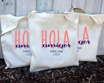 20+ Hola Amigos Custom Canvas Destination Wedding Welcome Tote Bags - Eco-Friendly Natural Cotton Canvas
