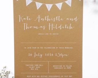 Rustic wedding invitation/white ink on kraft paper calligraphy invitation