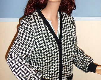 80s Houndstooth Hipster Cardigan Sweater by Leslie Fay MED/LARGE