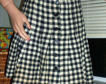 70s Black & White Plaid Schoolgirl Mini Skirt XS