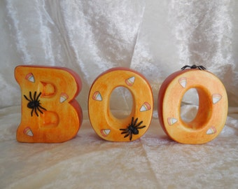 Hand Made, Hand Painted Ceramic Letters Spelling Boo, Alphabet Letters, Boo Letters