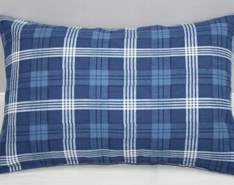 Lumbar Pillow  Plaid Checks Blue and Off White Ralph Lauren fabric with zipper    14 x 9 inches