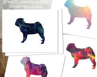 Pug - Dog  Silhouette Note Card Collection -  Digital Download Printable