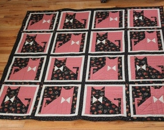 "Cat quilt throw or lap size or small tablecloth pink black white prints 61"" square"