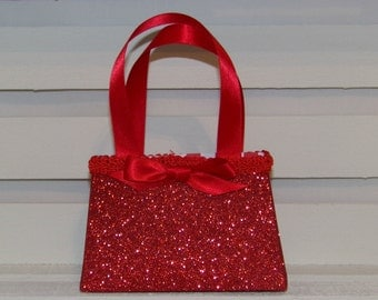Paper Purse, Red Glitter Paper Purse Gift Bag, Favor Box, Keepsake