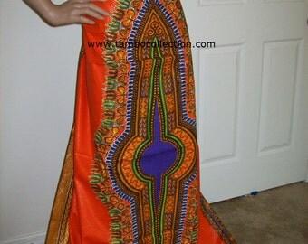 2 Yards Per Panel Orange with purple color dashiki print fabric/ Dashiki clothing/ Accessories/ Dashiki Bags/ Kitenge fabric/ Java print