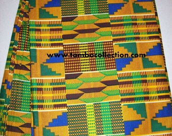 Per Yard Traditional Kente print fabric, Yellow, Blue, Green Colors/ Kente fabric made in Africa/ African Clothing/ African Stoles