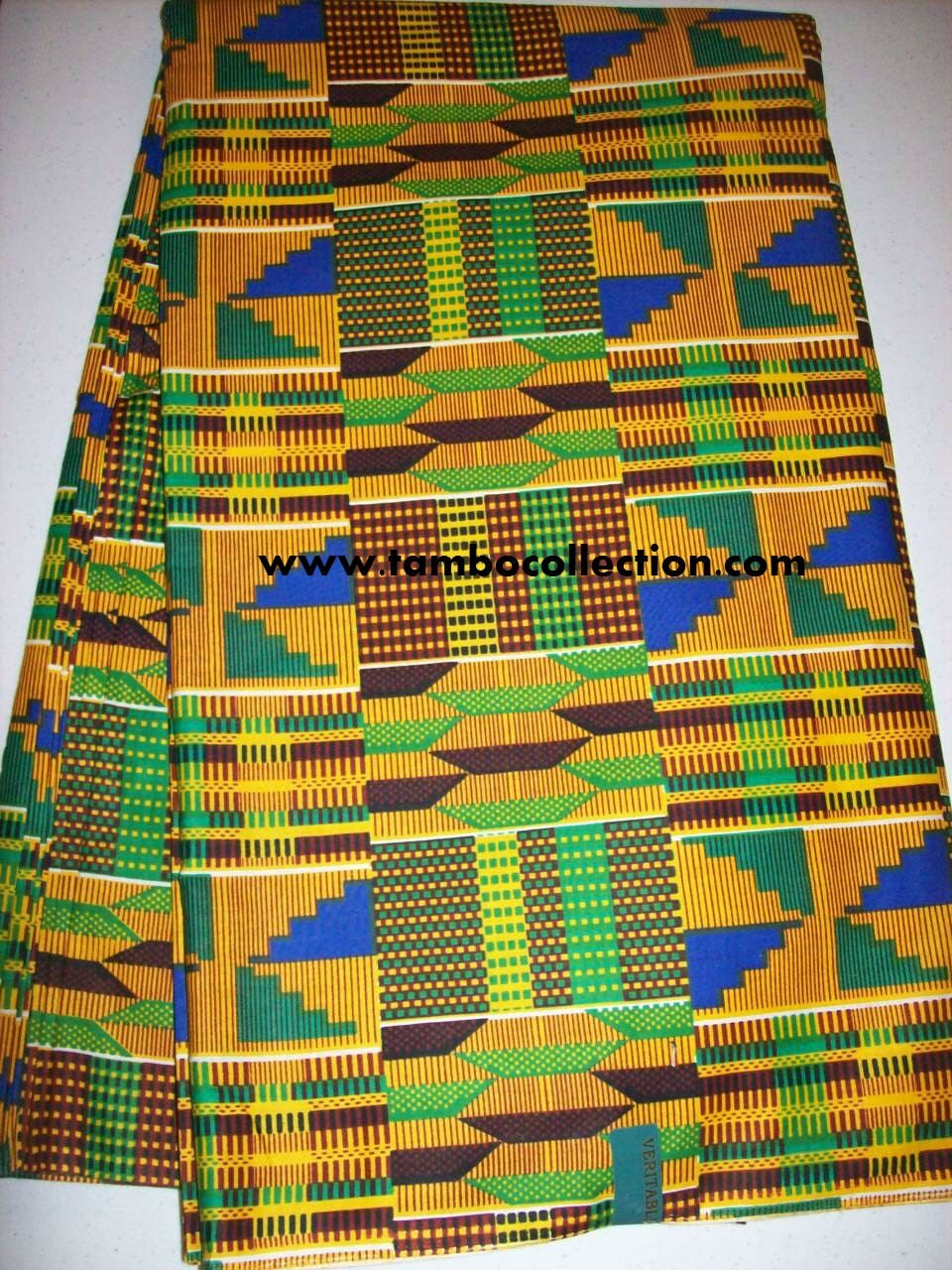 Per Yard Traditional Kente Print Fabric Yellow Blue Green