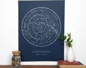 Sagan Star Chart - Navy | Constellation Print | Star Map | Astronomy Chart  | Educational Science Illustration