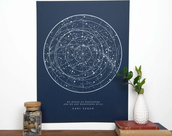 BACKORDERED - Sagan Star Chart - Navy | Constellation Print | Star Map | Astronomy Chart