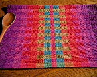 Rainbow Handwoven Towel, Hand Loomed Guest Towel, Woven Hand Towel, Hand Woven Tea Towel, Rainbow Blocks, Med. Purple Hue, Woven Dish Towel