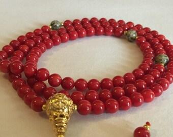Handmade Tibetan Mala Coral Mala 108 Beads with Dalmatian Jasper Spacers for Meditation