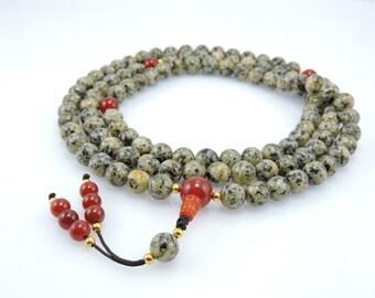 Handmade Tibetan Mala Dalmatian Jasper Mala 108 Beads with Carnelian Guru Bead and Spacers