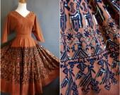 1950s Maya de Mexico skirt and blouse set mexican circle skirt top sequins novelty print 50s mexican souvenir matching set matched set