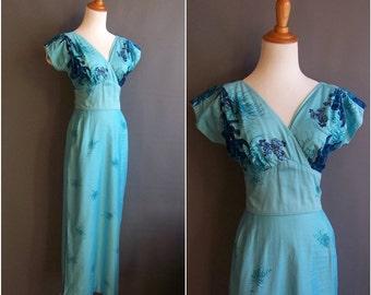 1950s Hawaiian/Japanese wiggle dress long gown chrysanthemum border print dress metallic gold cotton 50s hawaii gown long dress