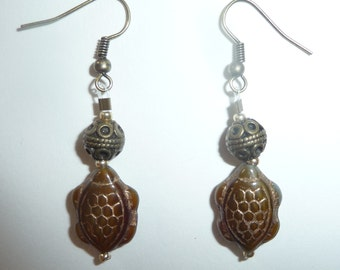 Green Turtle Earrings - Green and Gold - Olive Green - Antique Gold - Glass Turtle Beads (sale/originally 9.99)