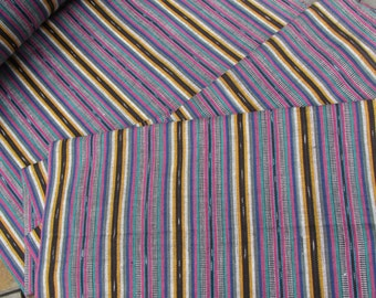 Guatemalan Fabric in Dusty Blue, Pink, and Yellow Stripe