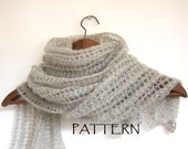 knitted lace scarf pattern, lace shawl pattern, DIY, instant download, knitting tutorial