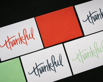 Thank You Cards / Thankful / Simple + Minimal / Mixed Color, set of 6