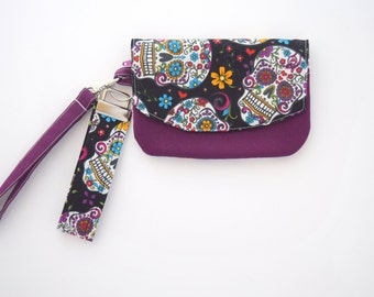 Skull Bag, Wallet Wristlet with Strap, Small Zipper Pouch, Gift for Her, Handmade, Ready to Ship