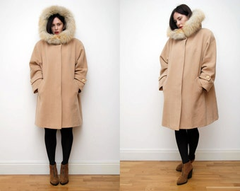 Vintage Real Fox Fur Hood Swing Cape Coat Parka RARE