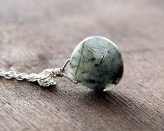 Quartz Necklace - Sterling Silver Necklace - Minimalist Necklace - Natural Stone Necklace - Wire Wrapped Quartz Pendant Necklace