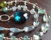NEW Gemstone Necklace, Blue Topaz Aquamarine Green Amethyst Peridot, Sterling Silver Toggle, Freshwater Pearl, Aqua Jewelry, Free Shipping