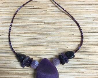 Purple Stone Teardrop Necklace