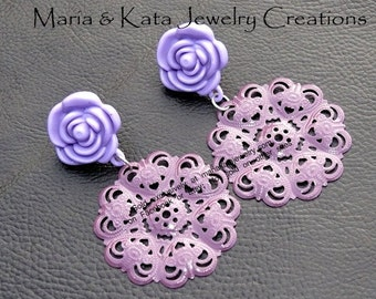 Resin flower with metallic filigree flower on Post Earrings