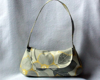 Small Purse - Amy Butler Optic Blossom - Gray and Yellow Modern Floral Print Small Bag