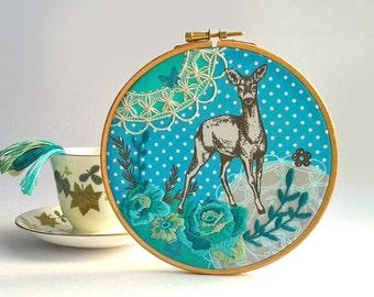 Doe Embroidery Kit. Needlecraft Kit. Modern hand embroidery. Deer and vintage rose. Sewing kit. DIY Hoop Art. Home decor. Craft Kit