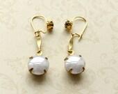 Vintage Glass Earrings, Glass Pearls, Long Drop Earrings, Black and White, Monochrome Earrings, UK Seller