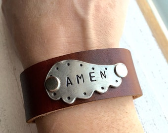 ANEN Wing Leather Cuff brown