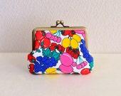 Vintage fruits art coin purse - strawberry, grape, frame purse, clasp purse