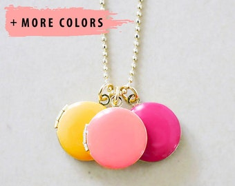 Trio Enameled Locket Statement Necklace - Small Colored Jewelry Charms
