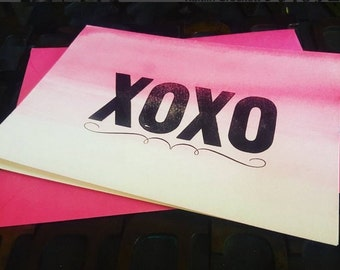 XOXO // letterpress watercolor card