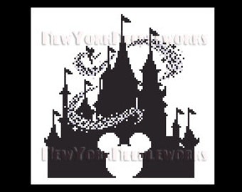 Cinderella's Castle Cross Stitch, WDW Castle Cross Stitch, Tinkerbell, Mickey Mouse Cross Stitch, Disney, Castles NewYorkNeedleworks on Etsy