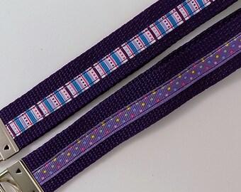"Key Chain Strap 7.5"" Purple Nylon Webbing and Ribbon Key Holder Key Fob Polka Dot Keyfob"