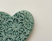 Hearts and Flowers shaped tealight dish, Ceramic candle holder alter dish, nature pottery bowl