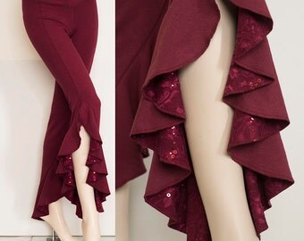 Bamboo Belly Dance Ruffle Pants in Burgundy with Sequin Lace Detail
