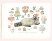 High Tea Kitty Birthday Card (Siamese Cat)