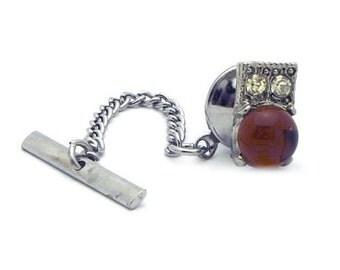 Vintage Silver Tone Tie Tac/Lapel Pin Orange Stone #549
