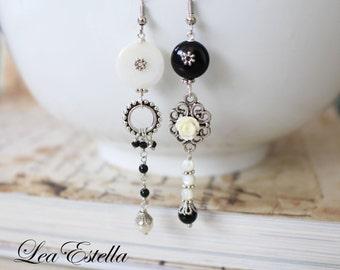 Mismatched Earrings, Monochrome earrings, Asymmetrical Earrings, Onyx, Mother of Pearl, Black White earrings - Othello
