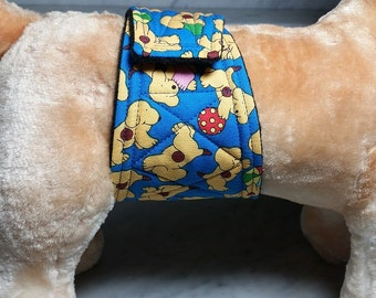 Belly Band Waist 10.00 x Width 3.00 inches Male Dog Wrap Diaper Belt by SewDog 3 Layers Quilted Padded Wrap #085 PUPPIES