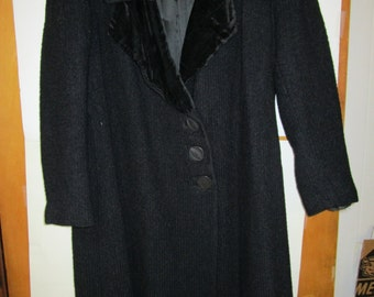 Vintage Black Wool Overcoat, unknown maker and vintage