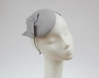 Wool Felt Mini Hat-Button-Felt Fascinator-Pale Grey